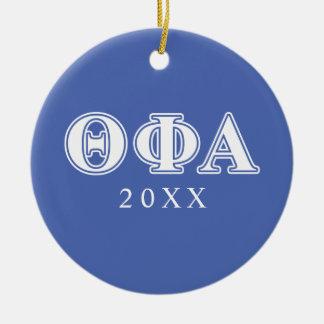Letras blancas de la phi de la theta y azules alfa adorno navideño redondo de cerámica