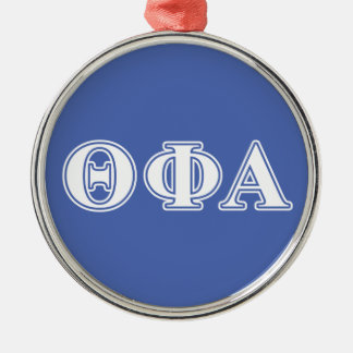 Letras blancas de la phi de la theta y azules alfa adorno navideño redondo de metal