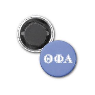 Letras blancas de la phi de la theta y azules alfa imán redondo 3 cm