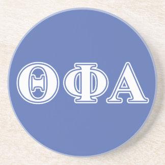Letras blancas de la phi de la theta y azules alfa posavaso para bebida