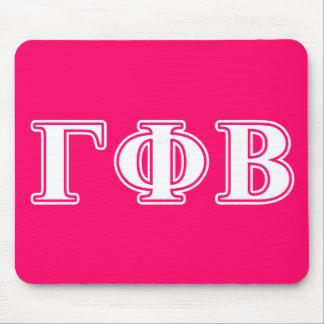 Letras blancas de la phi gamma y rosadas beta alfombrilla de raton