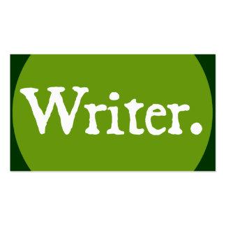 Letras blancas del escritor tarjetas de visita
