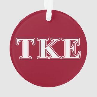 Letras blancas del Tau Kappa y rojas épsilones