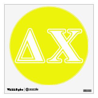 Letras blancas y amarillas de la ji del delta