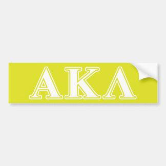 Letras blancas y amarillas de la lambda alfa de etiqueta de parachoque