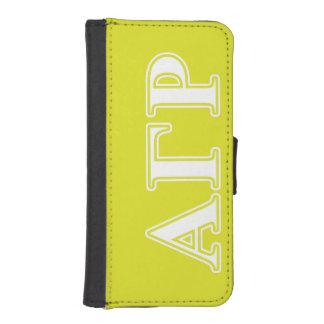 Letras blancas y amarillas de rho gamma alfa cartera para iPhone 5