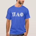 Letras blancas y azules de la phi alfa del pi playera