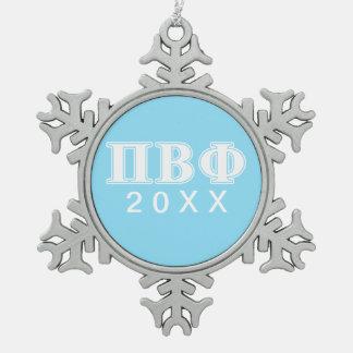 Letras blancas y azules de la phi beta del pi adorno de peltre en forma de copo de nieve