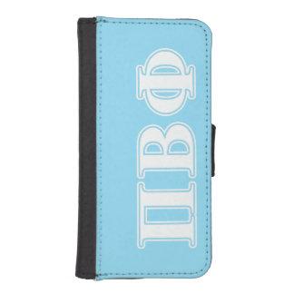 Letras blancas y azules de la phi beta del pi cartera para iPhone 5