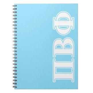 Letras blancas y azules de la phi beta del pi libros de apuntes con espiral