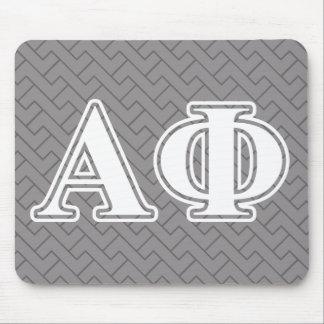 Letras blancas y de plata de la phi alfa tapetes de ratones