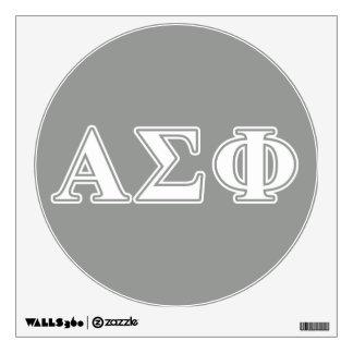 Letras blancas y grises de la phi alfa de la sigma