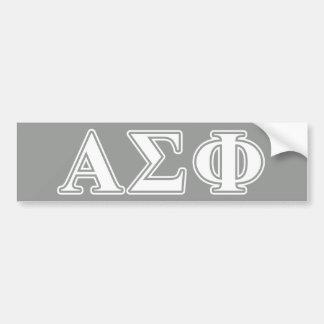Letras blancas y grises de la phi alfa de la sigma pegatina de parachoque