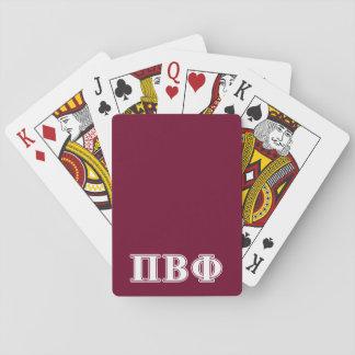 Letras blancas y marrón de la phi beta del pi cartas de juego