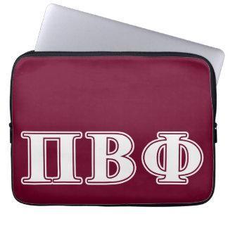 Letras blancas y marrón de la phi beta del pi fundas computadoras