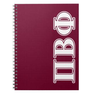Letras blancas y marrón de la phi beta del pi libros de apuntes