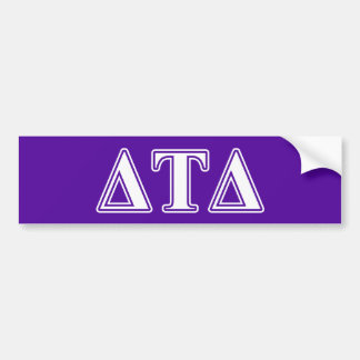 Letras blancas y púrpuras del delta del Tau del Etiqueta De Parachoque