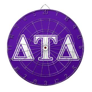 Letras blancas y púrpuras del delta del Tau del Tabla Dardos