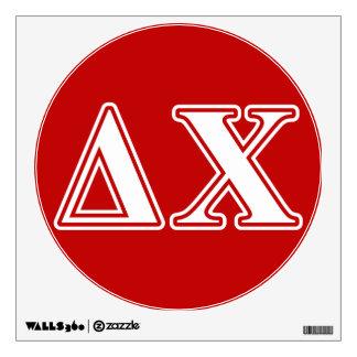Letras blancas y rojas de la ji del delta