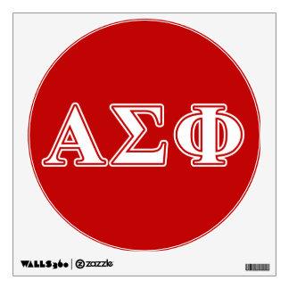 Letras blancas y rojas de la phi alfa de la sigma