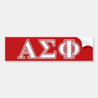 Letras blancas y rojas de la phi alfa de la sigma etiqueta de parachoque
