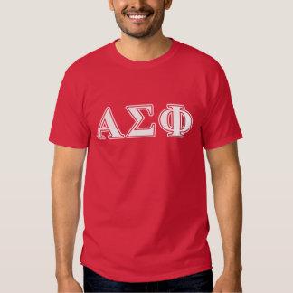 Letras blancas y rojas de la phi alfa de la sigma camisas