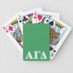 Letras blancas y verdes 2 del delta gamma alfa baraja de cartas