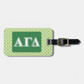 Letras blancas y verdes 2 del delta gamma alfa etiquetas maleta