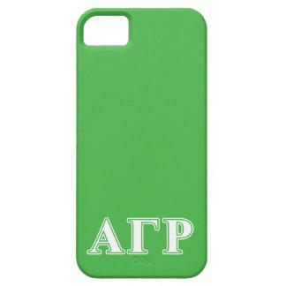 Letras blancas y verdes de rho gamma alfa iPhone 5 carcasa