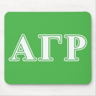 Letras blancas y verdes de rho gamma alfa tapetes de ratón