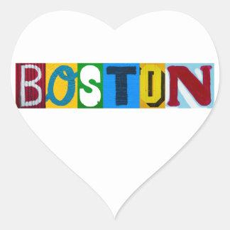 Letras coloridas de Boston Pegatina Corazón Personalizadas