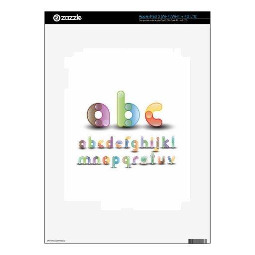 Letras coloridas del alfabeto pegatina skin para iPad 3