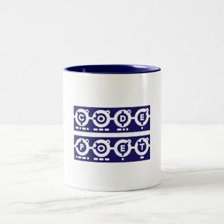Letras cuadradas de Codepoet - azul Taza De Café De Dos Colores