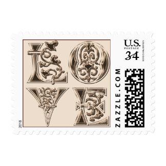 Letras de amor de la postal que casan sellos