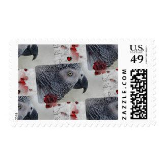 Letras de amor del gris africano sellos