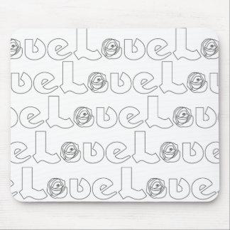 Letras de amor en cojín de ratón negro alfombrilla de ratón