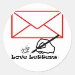 Letras de amor etiqueta redonda
