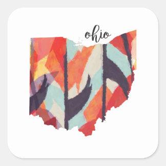 Letras de la mano de la silueta de Ohio Pegatina Cuadrada