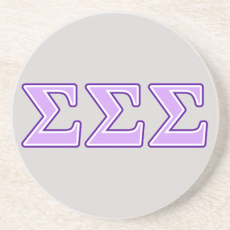 Letras de la púrpura y de la lavanda de la sigma posavasos de arenisca