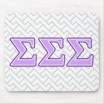 Letras de la púrpura y de la lavanda de la sigma tapete de raton