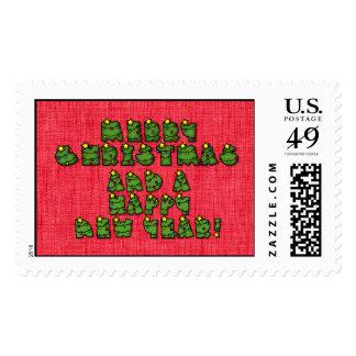 Letras de las luces de navidad sello postal