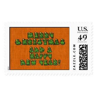 Letras de las luces de navidad timbre postal