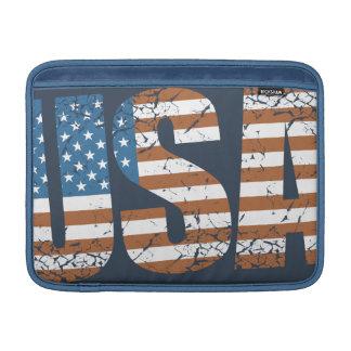 Letras de los E.E.U.U. del vintage con la bandera Fundas Macbook Air