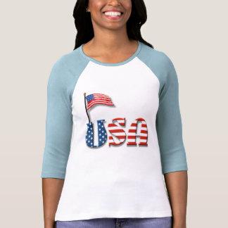 Letras de los E.E.U.U. y bandera americana Playera