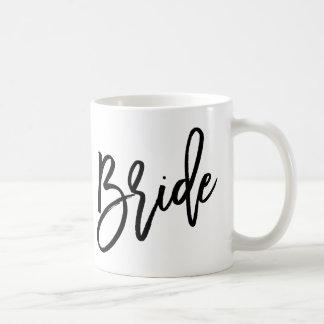 Letras de moda de la novia taza de café