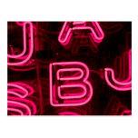 Letras de neón rosadas tarjetas postales