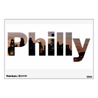 Letras de Philly y etiqueta de la pared del horizo Vinilo Decorativo