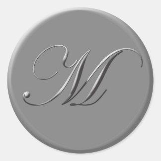 letras de plata pegatina redonda
