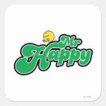 Letras de Sr. Happy Sliding Down Green Pegatina Cuadrada