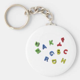 Letras del alfabeto llavero redondo tipo pin